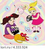 Маленькие девочки снимают кино. Блондинка с видеокамерой, брюнетка с хлопушкой. Стоковая иллюстрация, иллюстратор Ольга Алексеева / Фотобанк Лори