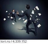 Купить «Деловой спор. Два бизнесмена стоят друг напротив друга в позах борцов среди летающих документов и бумаг», фото № 4339152, снято 13 ноября 2018 г. (c) Sergey Nivens / Фотобанк Лори