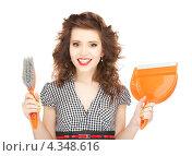 Купить «Привлекательная домохозяйка с совком и щеткой», фото № 4348616, снято 3 января 2010 г. (c) Syda Productions / Фотобанк Лори