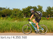 Купить «Пожилой велосипедист едет на велосипеде по велосипедной дорожке на фоне природы», фото № 4350160, снято 31 августа 2011 г. (c) Ольга Липунова / Фотобанк Лори