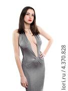 Студийный портрет сексуальной женщины в элегантном платье с глубоким декольте, фото № 4370828, снято 2 марта 2012 г. (c) Сергей Сухоруков / Фотобанк Лори