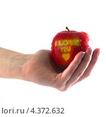 """Яблоко в руке со словами  """"I love you"""" Стоковое фото, фотограф Михаил Балберов / Фотобанк Лори"""