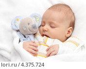 Малыш спит с мягкой игрушкой (2012 год). Редакционное фото, фотограф Nikolay Kostochka / Фотобанк Лори
