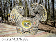 Купить «Тяни-Толкай, сказочная мозаичная скульптура в парке культуры и отдыха имени Ленинского комсомола, Донецк, Украина», фото № 4376888, снято 5 марта 2013 г. (c) Валерий Лисейкин / Фотобанк Лори