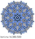 Круглый геометрический рисунок, растительный орнамент в синих тонах. Стоковая иллюстрация, иллюстратор Олеся Каракоця / Фотобанк Лори