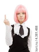 Купить «Девушка-подросток с розовыми волосами в школьной форме показывает средний палец», фото № 4381488, снято 12 мая 2007 г. (c) Syda Productions / Фотобанк Лори