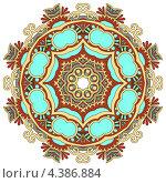 Круглый бирюзовый орнамент. Стоковая иллюстрация, иллюстратор Олеся Каракоця / Фотобанк Лори