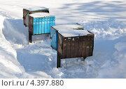 Уличные почтовые ящики в снегу. Стоковое фото, фотограф Голованов Сергей / Фотобанк Лори