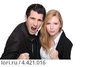 Купить «Деловая пара сжимает кулаки», фото № 4421016, снято 16 апреля 2010 г. (c) Phovoir Images / Фотобанк Лори