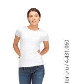 Купить «Привлекательная девушка в белой футболке и голубых джинсах», фото № 4431060, снято 31 марта 2012 г. (c) Syda Productions / Фотобанк Лори