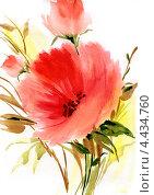 Купить «Рисунок акварелью букет цветов», иллюстрация № 4434760 (c) Ирина Чекмарева / Фотобанк Лори