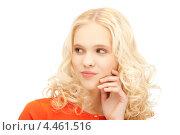 Купить «Привлекательная блондинка с кудрями на белом фоне», фото № 4461516, снято 2 октября 2011 г. (c) Syda Productions / Фотобанк Лори