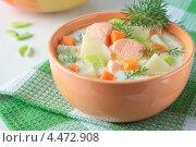 Купить «Суп из семги со сливками», фото № 4472908, снято 31 марта 2013 г. (c) Наталья Евстигнеева / Фотобанк Лори