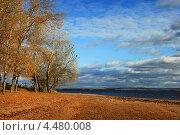 Пейзаж осеннего берега реки. Стоковое фото, фотограф Алексей Макшаков / Фотобанк Лори