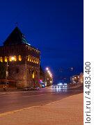 Дмитриевская башня Нижегородского кремля ночью (2011 год). Редакционное фото, фотограф Юрий Бажан / Фотобанк Лори