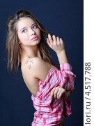 Купить «Портрет красивой девушки с татуировкой в виде бабочек на плече», фото № 4517788, снято 12 ноября 2011 г. (c) Losevsky Pavel / Фотобанк Лори
