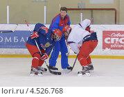 Купить «Открытая ледовая тренировка юниорской, до 18 лет, сборной России по хоккею», фото № 4526768, снято 12 апреля 2013 г. (c) Stockphoto / Фотобанк Лори