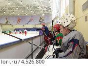 Купить «Открытая ледовая тренировка юниорской, до 18 лет, сборной России по хоккею», фото № 4526800, снято 12 апреля 2013 г. (c) Stockphoto / Фотобанк Лори