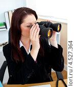 Купить «Деловая женщина смотрит в бинокль в офисе», фото № 4527364, снято 14 июля 2010 г. (c) Wavebreak Media / Фотобанк Лори