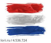 Купить «Нарисованный тремя горизонтальными мазками кисти флаг Нидерландов», иллюстрация № 4536724 (c) Клинц Алексей / Фотобанк Лори