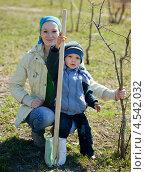 Купить «Женщина с маленьким мальчиком сажают дерево в парке», фото № 4542032, снято 26 апреля 2011 г. (c) Яков Филимонов / Фотобанк Лори