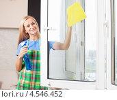 Купить «Девушка моет окно», фото № 4546452, снято 22 марта 2013 г. (c) Гладских Татьяна / Фотобанк Лори