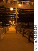Ночной мост через реку Ягорба в городе Череповец. Стоковое фото, фотограф Юрий Ермаков / Фотобанк Лори