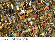 Купить «Фон из свадебных замочков на мосту. Париж, Франция», фото № 4559816, снято 26 декабря 2012 г. (c) Светлана Колобова / Фотобанк Лори