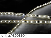 Купить «Ленты с белыми светодиодами на тёмном фоне», фото № 4564904, снято 24 апреля 2013 г. (c) Абышев А.А. / Фотобанк Лори