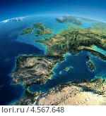 Купить «Поверхность Земли из космоса. Испания и Средиземное море», иллюстрация № 4567648 (c) Антон Балаж / Фотобанк Лори