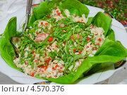 Купить «Оригинальный салат из морепродуктов и свежей зелени», эксклюзивное фото № 4570376, снято 24 мая 2012 г. (c) Алёшина Оксана / Фотобанк Лори