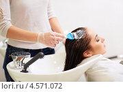 Купить «Молодая женщина наносит краску на волосы в салоне», фото № 4571072, снято 3 февраля 2013 г. (c) Raev Denis / Фотобанк Лори