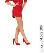 Купить «Красивая женская фигура в красном платье с туфлями на шпильке», фото № 4572300, снято 7 октября 2012 г. (c) Syda Productions / Фотобанк Лори