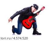 Купить «Рок-музыкант с красной гитарой на белом фоне», фото № 4574520, снято 10 февраля 2013 г. (c) Elnur / Фотобанк Лори