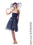 Купить «Привлекательная модель в летнем платье и шляпке», фото № 4574916, снято 18 июля 2012 г. (c) Elnur / Фотобанк Лори