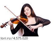 Купить «Молодая женщина играет на скрипке», фото № 4575020, снято 14 марта 2013 г. (c) Elnur / Фотобанк Лори