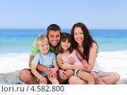 Купить «Счастливая семья сидит на берегу моря», фото № 4582800, снято 14 ноября 2010 г. (c) Wavebreak Media / Фотобанк Лори