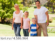 Купить «Родители с двумя маленькими детьми гуляют по парку, держась за руки», фото № 4586964, снято 16 ноября 2010 г. (c) Wavebreak Media / Фотобанк Лори