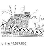 Енот из графических знаков. Стоковая иллюстрация, иллюстратор лазарева ксения / Фотобанк Лори