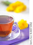 Купить «Чашка чая и одуванчики», фото № 4607692, снято 8 мая 2013 г. (c) Darkbird77 / Фотобанк Лори