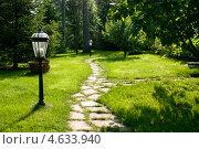 Купить «Зеленый парк с дорожкой и фонарями», фото № 4633940, снято 21 ноября 2018 г. (c) Елена Архангельская / Фотобанк Лори