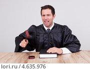 Купить «Судья в мантии с молотком за столом», фото № 4635976, снято 14 июля 2012 г. (c) Андрей Попов / Фотобанк Лори