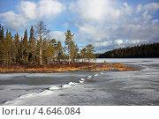 Купить «Весеннее утро на озере Хирасъярви. Разлив реки Писта. Северная Карелия», эксклюзивное фото № 4646084, снято 27 апреля 2013 г. (c) Наталья Осипова / Фотобанк Лори