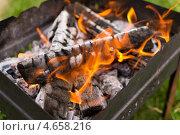 Пламенные угли на мангале. Стоковое фото, фотограф Pavel Kozlovsky / Фотобанк Лори