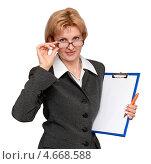 Деловая женщина с холдером для бумаг. Стоковое фото, фотограф Феликс Кучмакра / Фотобанк Лори