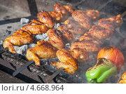 Купить «Куриные крылышки на шампурах жарится на мангале», фото № 4668964, снято 16 февраля 2019 г. (c) FotograFF / Фотобанк Лори