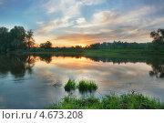 Закат над Москвой-рекой в Звенигороде. Стоковое фото, фотограф Liseykina / Фотобанк Лори