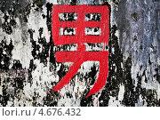 """Купить «Китайский иероглиф, обозначающий слово """"Мужчина"""", написан на старой потрескавшейся стене», фото № 4676432, снято 23 мая 2013 г. (c) Николай Винокуров / Фотобанк Лори"""