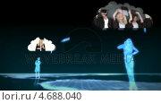 Купить «Digital figurines revealing graduate students into clouds», видеоролик № 4688040, снято 5 апреля 2020 г. (c) Wavebreak Media / Фотобанк Лори