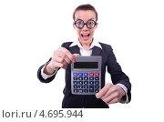Купить «Забавная деловая женщина в больших круглых очках держит калькулятор», фото № 4695944, снято 11 марта 2013 г. (c) Elnur / Фотобанк Лори